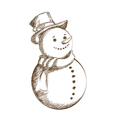 Christmas snowman vintage decoration with hat vector