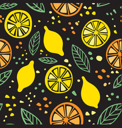 citrus colorful seamless pattern on black vector image