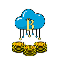 Cloud data with bicoin symbol and coins vector