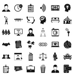 Coherence in job icons set simple style vector