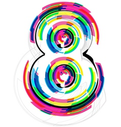Colorful Number 8 vector