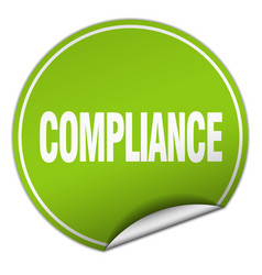 Compliance round green sticker isolated on white vector