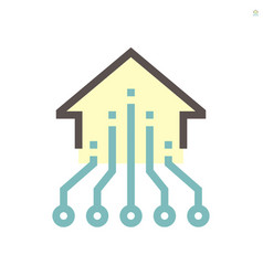 Computer chip processor and home for smart home vector