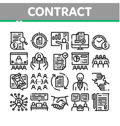 Contract collection elements icons set vector