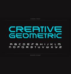 creative geometric alphabet futuristic font vector image