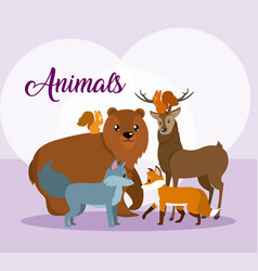 cute animals card cartoon vector image