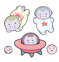 Cute cats and a rocket kawaii cartoon characters vector
