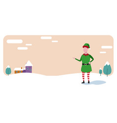 cute elf santa helper merry christmas happy new vector image