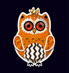cute yellow boho style indian hand drawn owl vector image