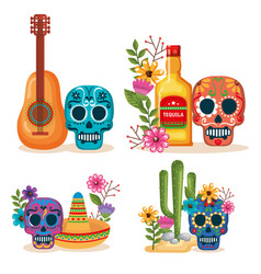 Day of the dead masks with culture icons vector