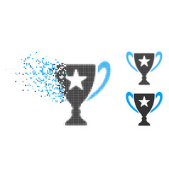 decomposed pixel halftone trophy cup icon vector image