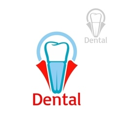 Dental health tooth implant icon emblem vector
