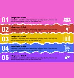 design elements - multi colored torn paper vector image