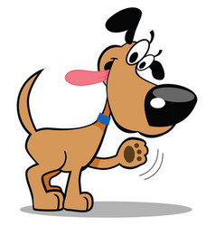 Dog waving paw panting with silly expression vector