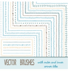 Doodle Geometric Brushes vector image