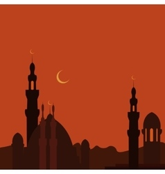East Town and mosque in sunset Ramadan image vector