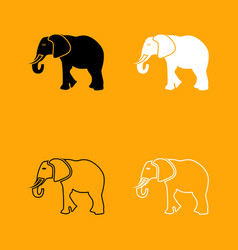 Elephant black and white set icon vector