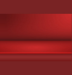 empty studio room background red studio table for vector image