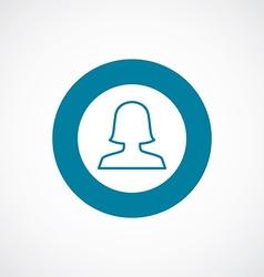 Female profile icon bold blue circle border vector