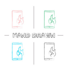 fire emergency calling hand drawn icons set vector image