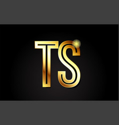 Gold alphabet letter ts t s logo combination icon vector