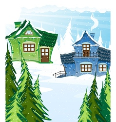 Green and blue houses vector