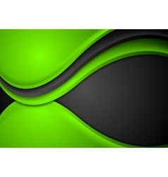 Green black abstract wavy background vector