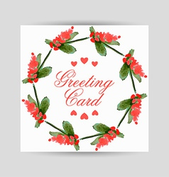 Greeting card with flowers in a circl vector