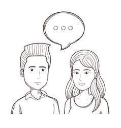 Hand drawn talking people design vector