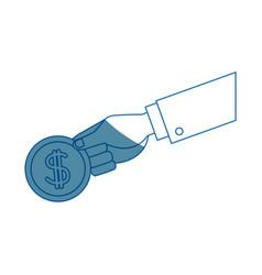 Hand holding coin dollar money banking vector