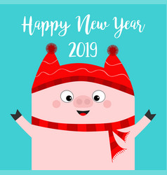Happy new year pig wearing red hat scarf chinise vector