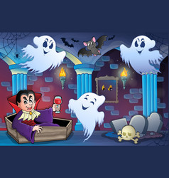 Haunted castle interior theme 7 vector