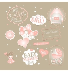Hello Little Princess Baby Shower Set vector