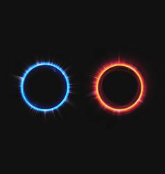 Hud blue and orange hologram effect circles set vector