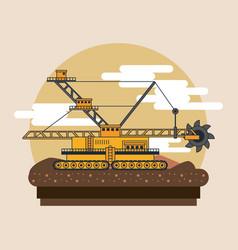 Hydraulic excavator machinery vector