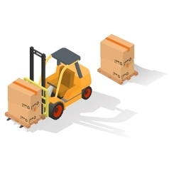 Isometric forklift truck with box vector image