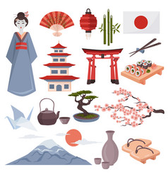 japanese symbols set vector image