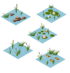 lake landscape isometric tile set cartoon or game vector image