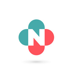 Letter n cross plus medical logo icon design vector