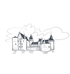 Line art isolated france sully sur castle sketch vector