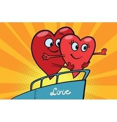Love couple king of the world scene red hearts vector image