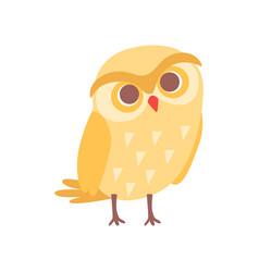 Lovely cartoon yellow owlet bird character vector
