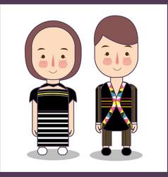 Malaysia rungus sabah bride and groom cartoon vector