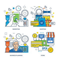 Marketing online shopping business planning vector