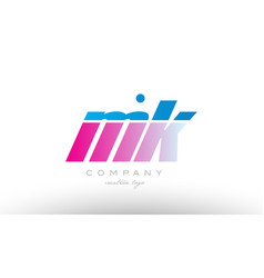 Mk m k alphabet letter combination pink blue bold vector