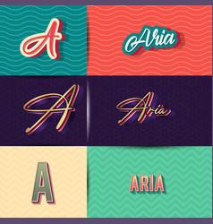 Name aria in various retro graphic design vector