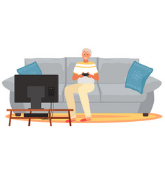 Old people play video game senior people with vector