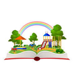Open book playground fantasy garden learning vector