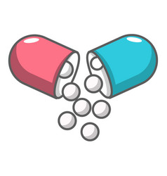 Open capsule pill icon cartoon style vector