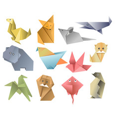 Origami paper animals asian art or hobby folded vector